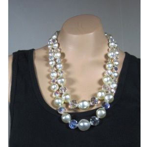 Faux pearl necklace and earrings